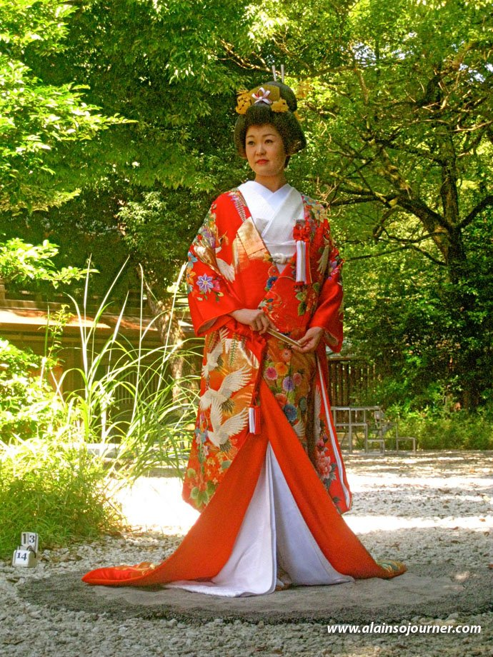 Traditional Japanese Weddings at Meiji Jingu Shrine in Tokyo. A Japanese bride in her fabulous kimono.