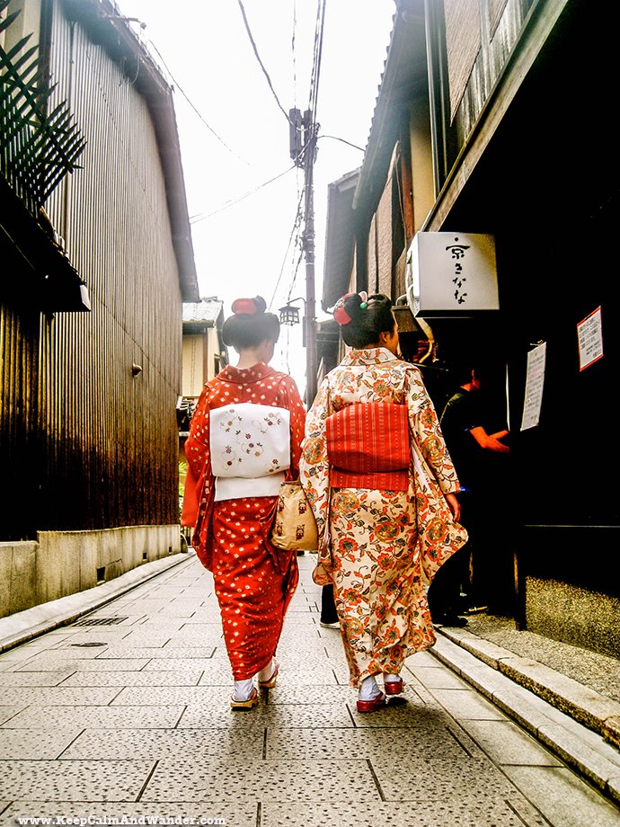 Geishas (or maikos) at Gion, Kyoto, Japan.