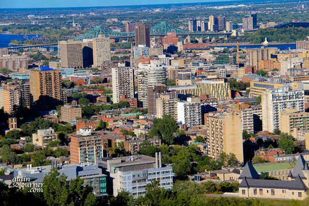 View of Montreal Skyline from Mont Royal Chalet.