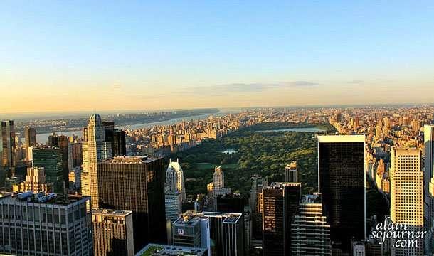Sunset View of New York Skyline from Rockefeller Center.