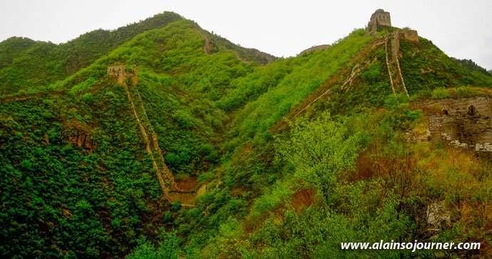 V-shaped Qiang Zi Great Wall of China