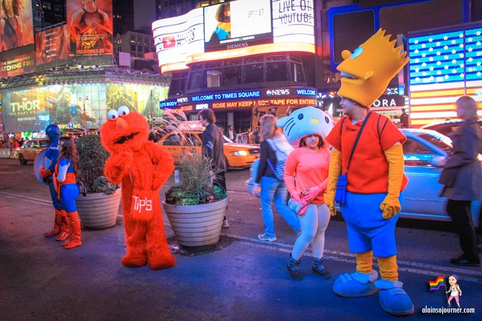 Times Square Buskers Simpsons