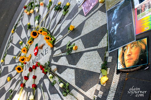 A tribute to John Lennon in New York City Strawberry Park.