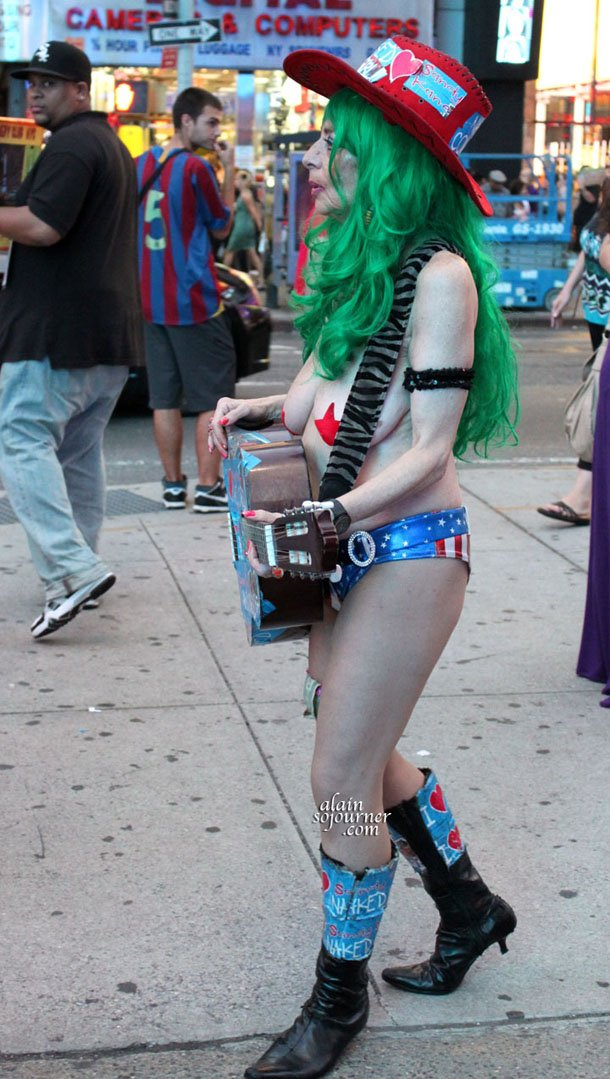 Naked Cowgirl at Times Square, New York City.