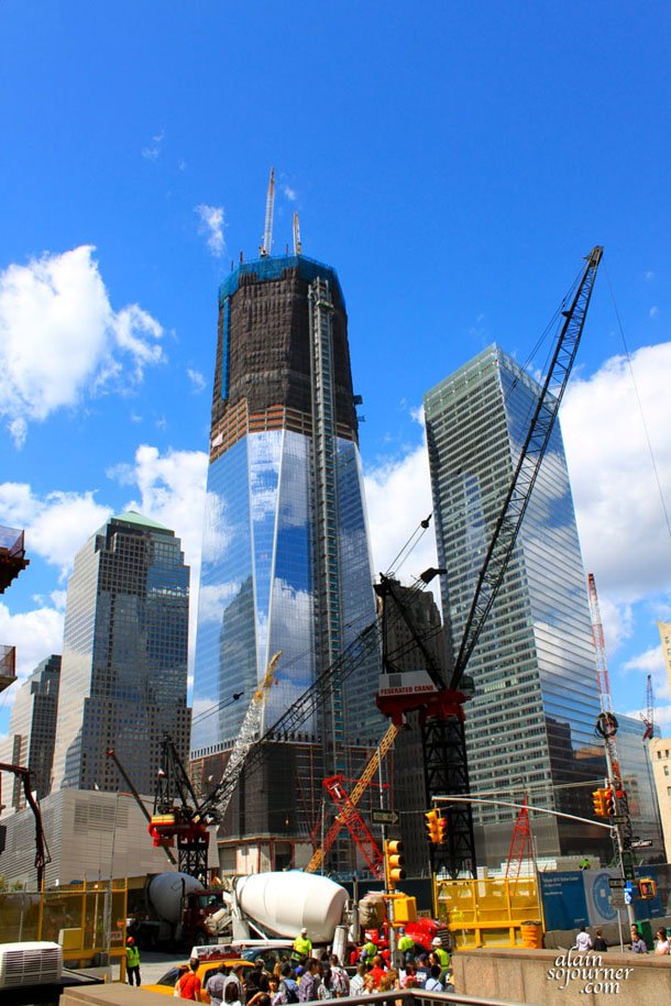 One World Trade Center in New York City is under construction.