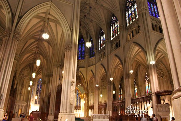 Inside St Patrick Cathedral on 5th Avenue in New York City.