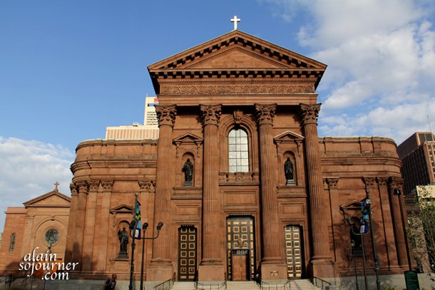 The facade of Cathedral Basilica of St Peter and St Paul in Philadelphia.