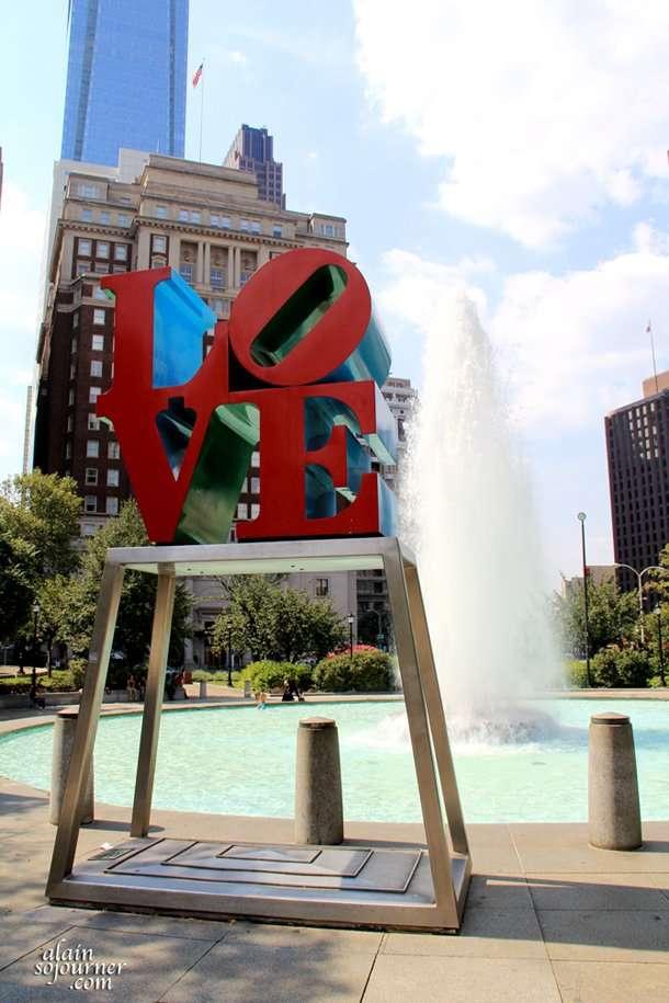 LOVE sculpture in a park in Philadelphia