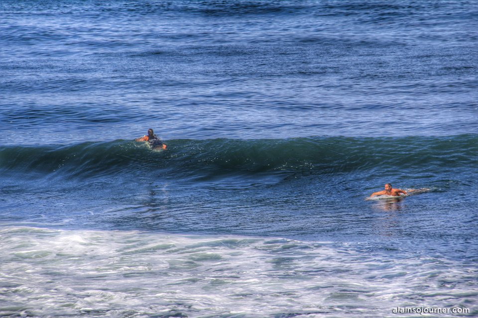 The surfers in La Jolla, San Diego, California.