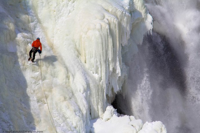 Montmorency Falls is frozen in Quebec City.