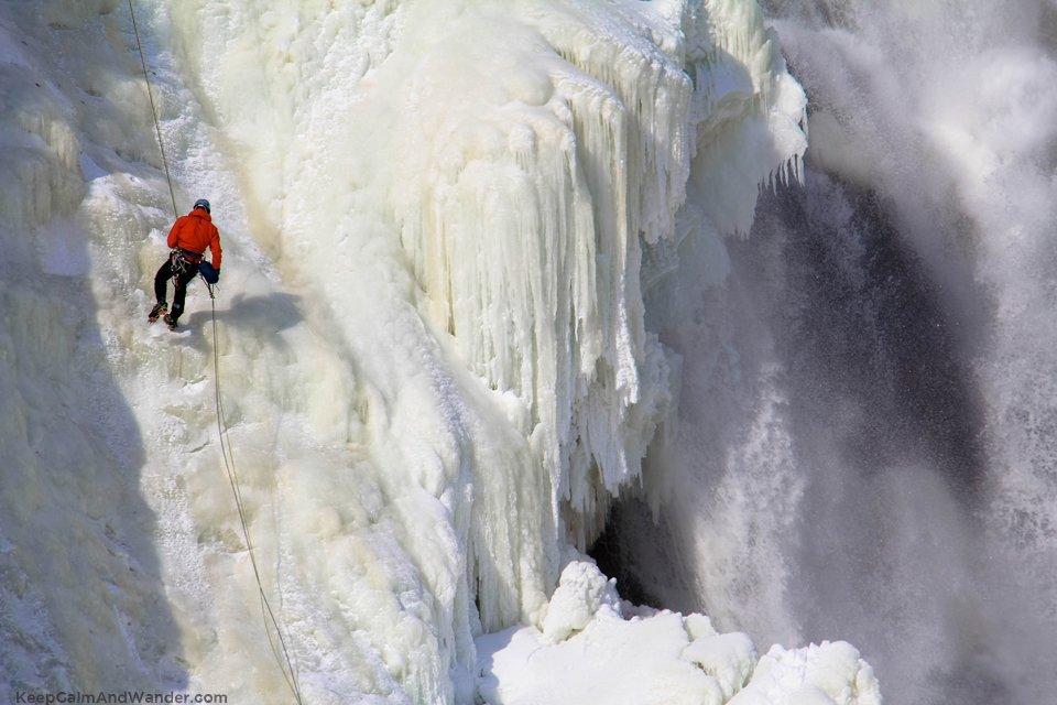 The Frozen Montmorency Falls in Quebec City.