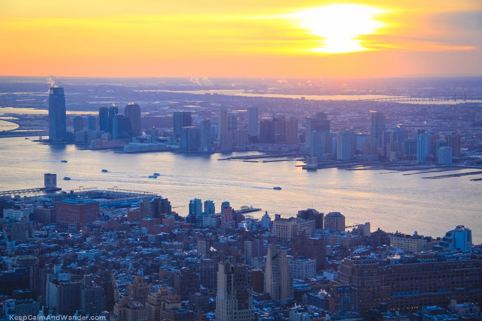This is New York skyline (South view) from the Empire State Building.