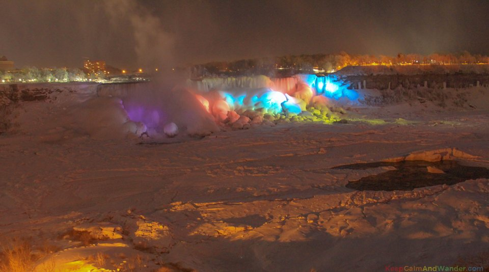 Frozen Niagara Falls Cascade Rainbow at Night.