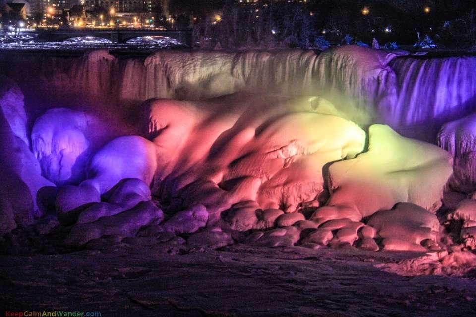 Frozen Niagara Falls Cascades Rainbow at Night.