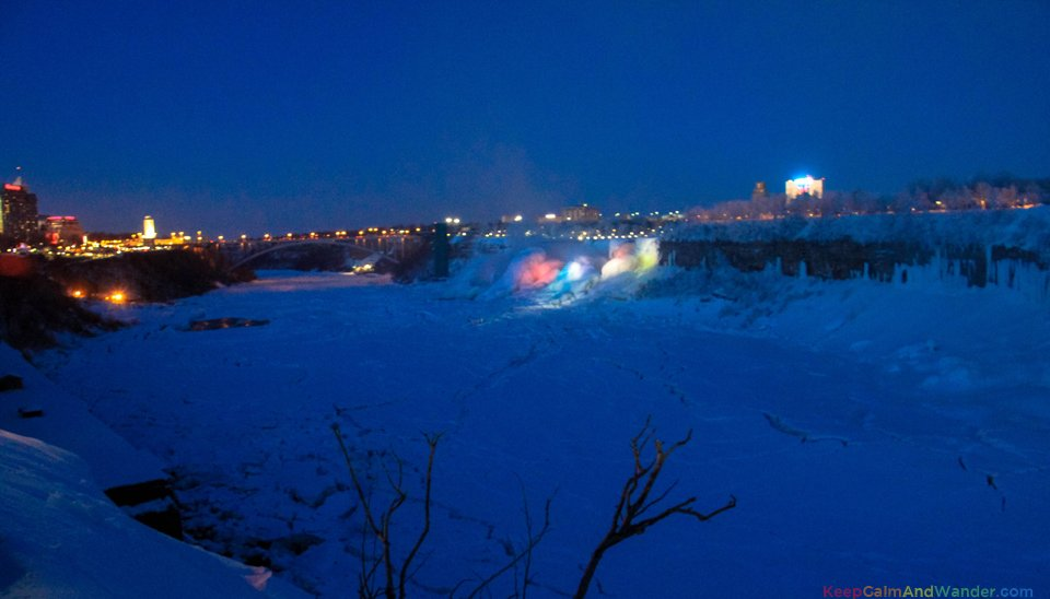 Frozen Niagara Falls Cascades Rainbow at Night