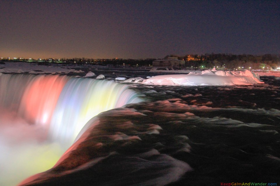 Frozen Niagara Falls Cascade Rainbow at Night