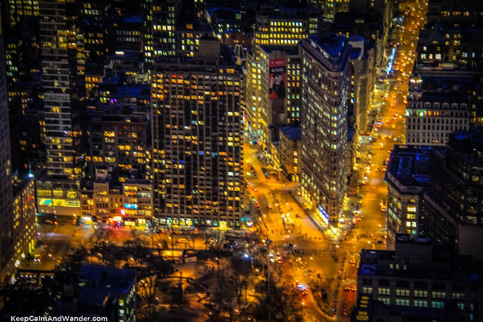 Night South view of New York Skyline from the Empire State Building