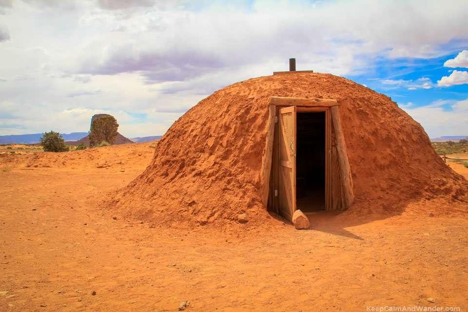 Hogan Village Mud House at Monument valley in Arizona.