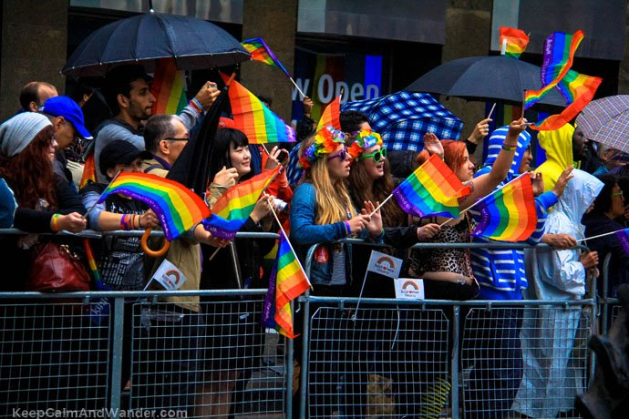 The crowd at 2015 Toronto Pride Parade on Bloor Street.