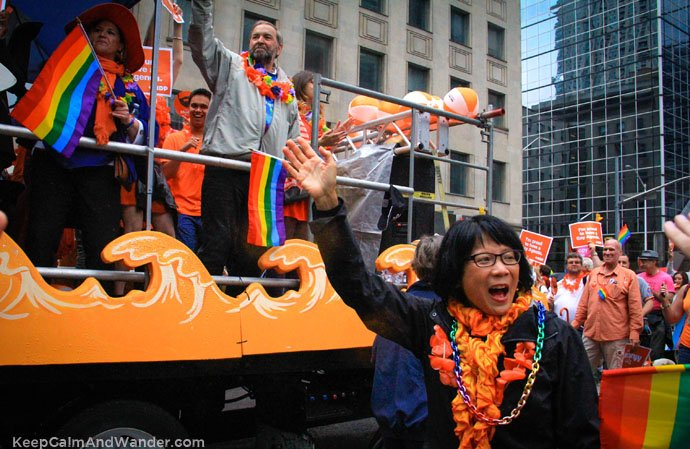 Thoma Mulcair and Olivia Chow at Toronto Pride Parade 2015.