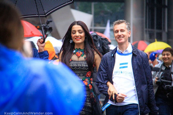 Celina Jaitly led the Toronto Pride Parade 2015 despite constant drizzle and cold temperature.