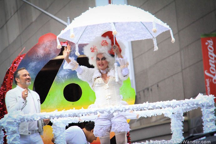 Cyndi Lauper led the Toronto Pride Parade 2015 despite constant drizzle and cold temperature.