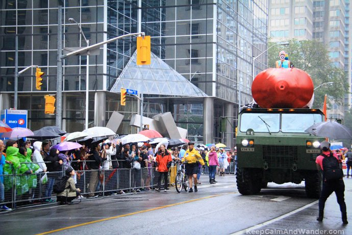 Pussy Riot Led the 2015 Toronto Pride Parade despite drizzle and cold weather---in a massive, red missile!