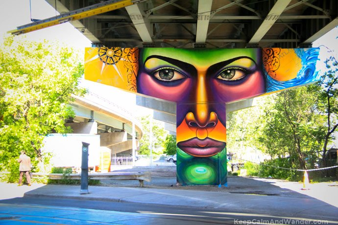 These murals on the pillars of Gardiner Expressway is a brilliant idea of turning urban spaces into creative pursuits. / Underpass Park in Toronto.