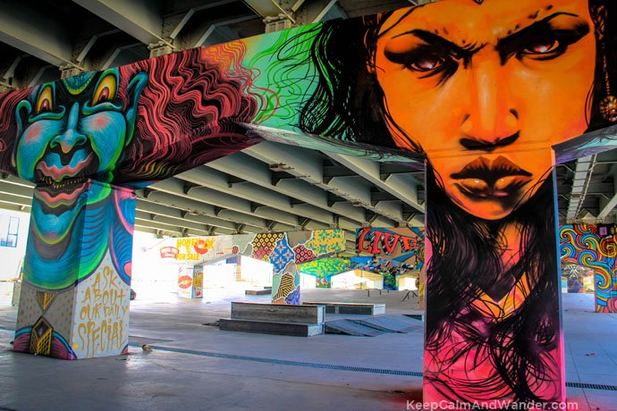 The murals on the pillars of Gardiner Expressway in Toronto.