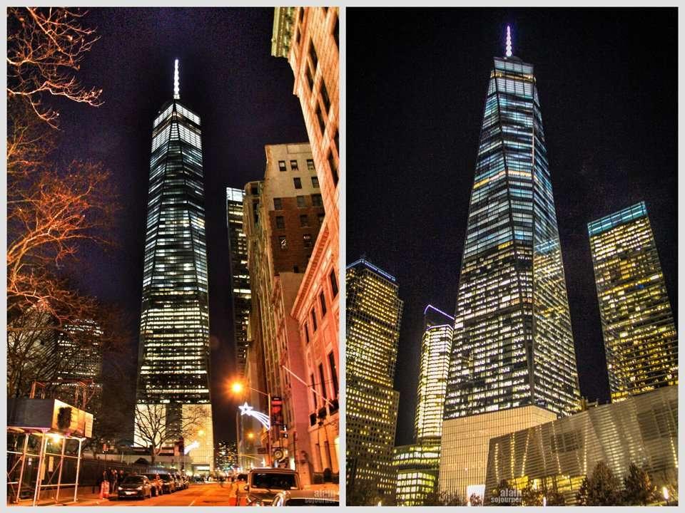 One World Trade Tower illuminates New York Skyline at night.