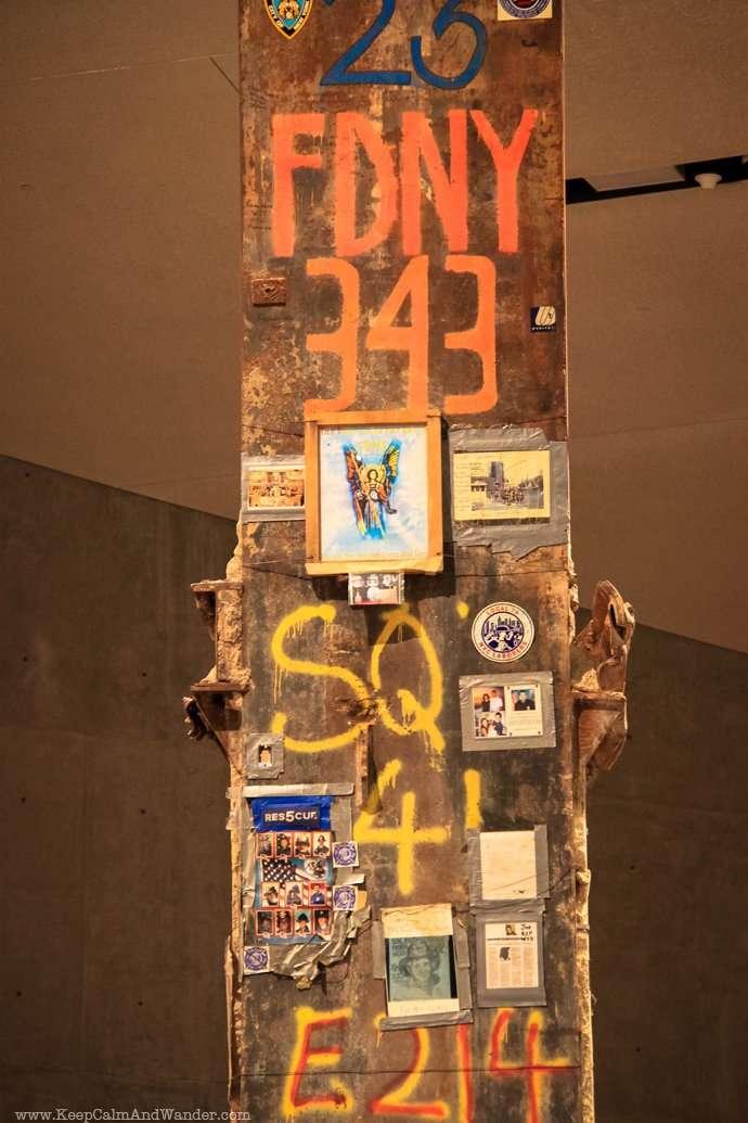 Last Column inside the 911 Memorial Museum in New York City.