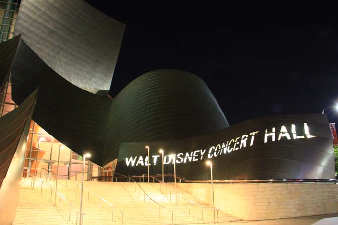 Walt Disney Hall in Los Angeles is simply stunning at night.