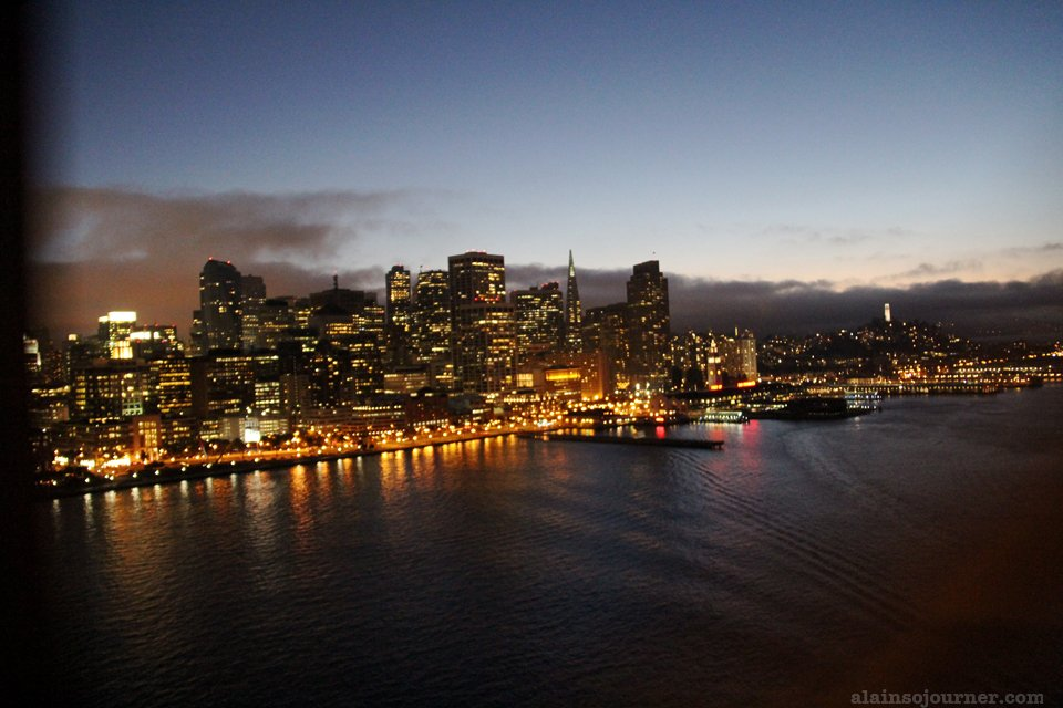 Crossing the bay Bridge in San Francisco.