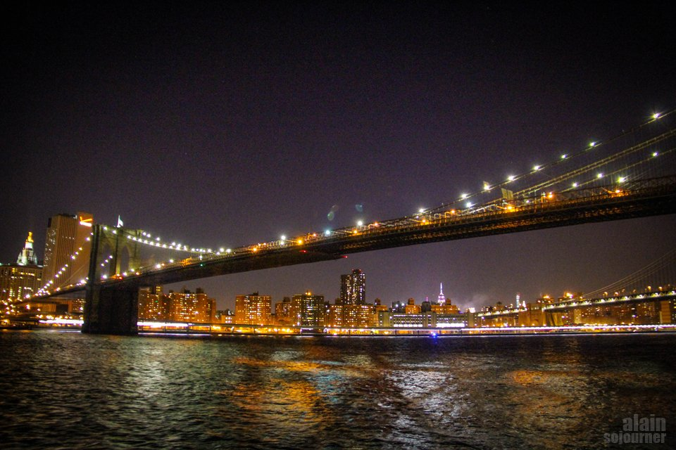 New York Skyline at Night from Brooklyn Heights