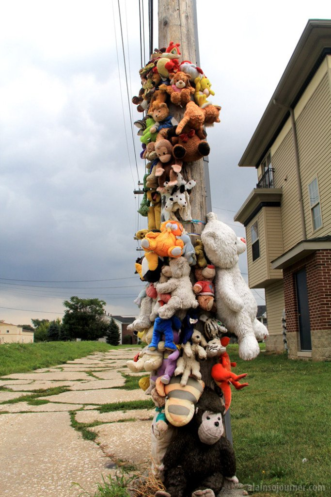 While walking in Rosa Parks Ave, I saw this post filled with stuffed toys in memory of a young man who was a victim of violence.