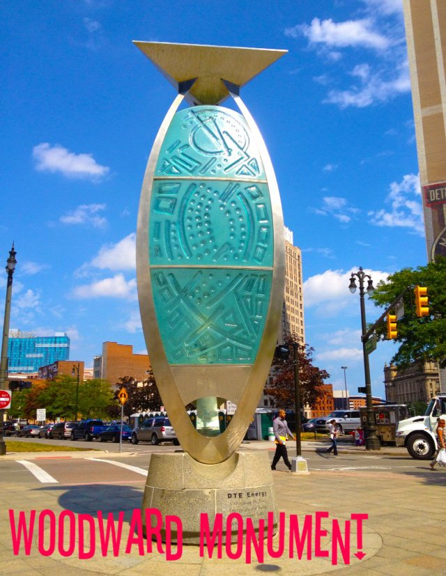 by Eric Ernsberger Downtown detroit at Woodward roundabout