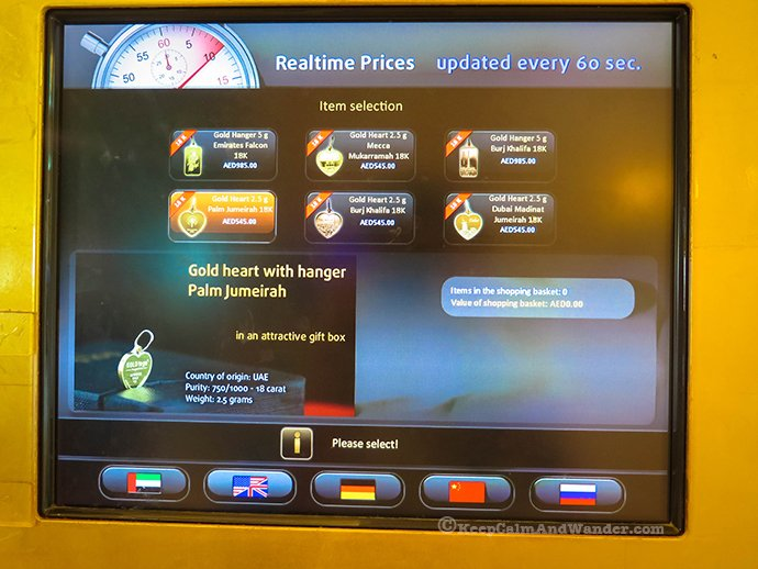 This vending machine dispenses gold in Dubai.