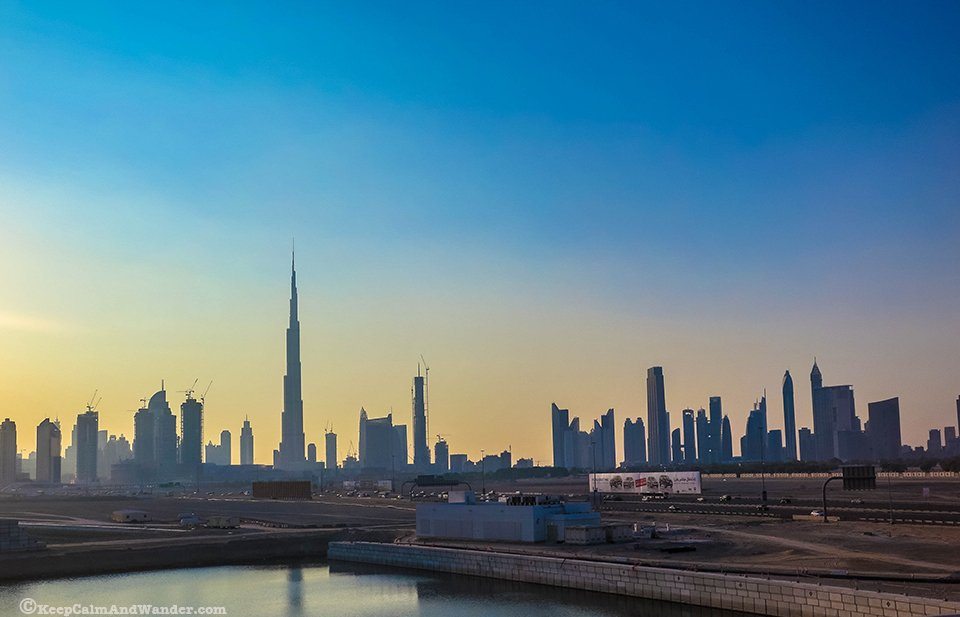 Dubai Sunset with a view of the city's skyline.