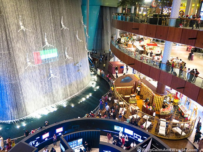 The Divers at Dubai Mall Waterfalls.