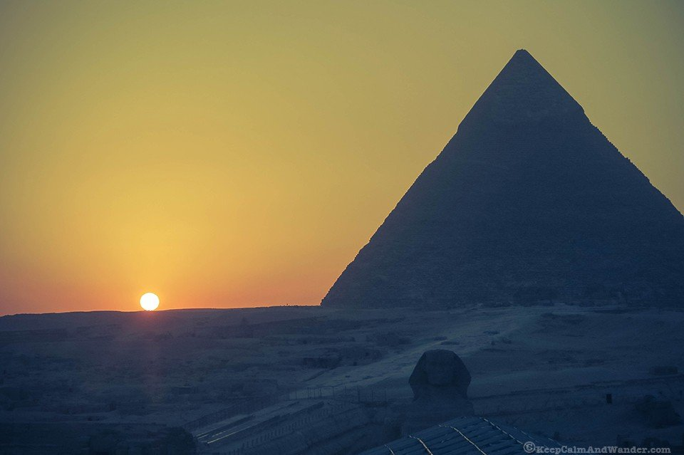 Sphinx Sunset at the Pyramids of Egypt.