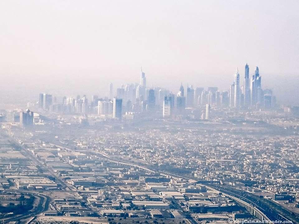 Dubai Marina from the Top of Burj Khalifa, the world's tallest building.