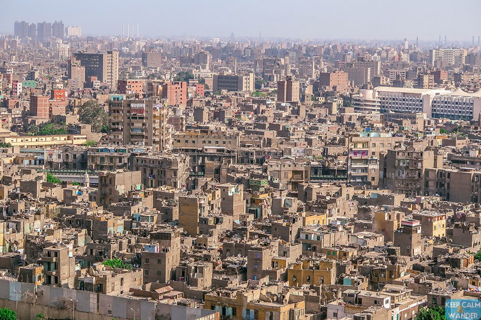View Cairo Skyline from Hilton Ramesis Hotel.