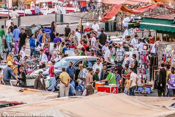 The plaza can be spelled in three ways: Jemaa el-Fnaa, Djema el-Fna, and Djemaa el-Fnaa.