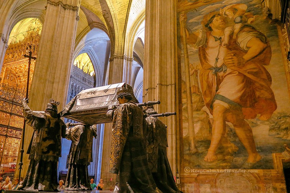 The body of Christopher Columbus is carried by these fours statue inside Cathedral de Seville, Spain.