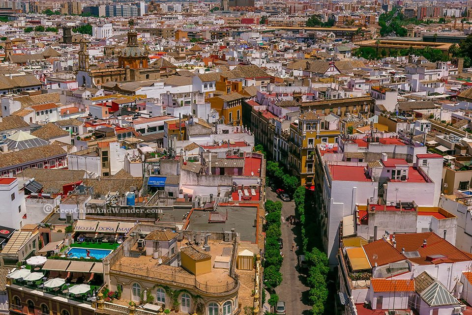 The City of Sevilla - View from Giralda Tower (Spain).