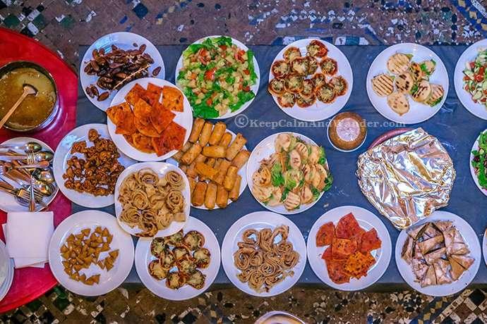 Morocco Dinner Buffet at Cafe Clock in Fes medina.