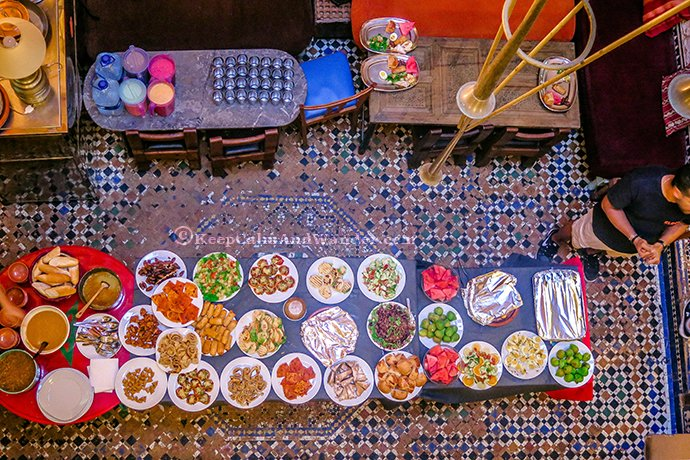Dinner Buffet at Cafe Clock in Fes, Morocco.