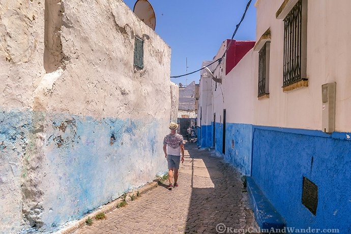 The Views and the Narrow Streets of Oudayas Kasbah in Rabat, Morocco.