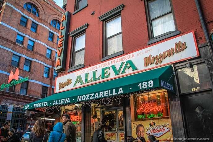Alleva Mozarella Cheese in Little Italy in New York.