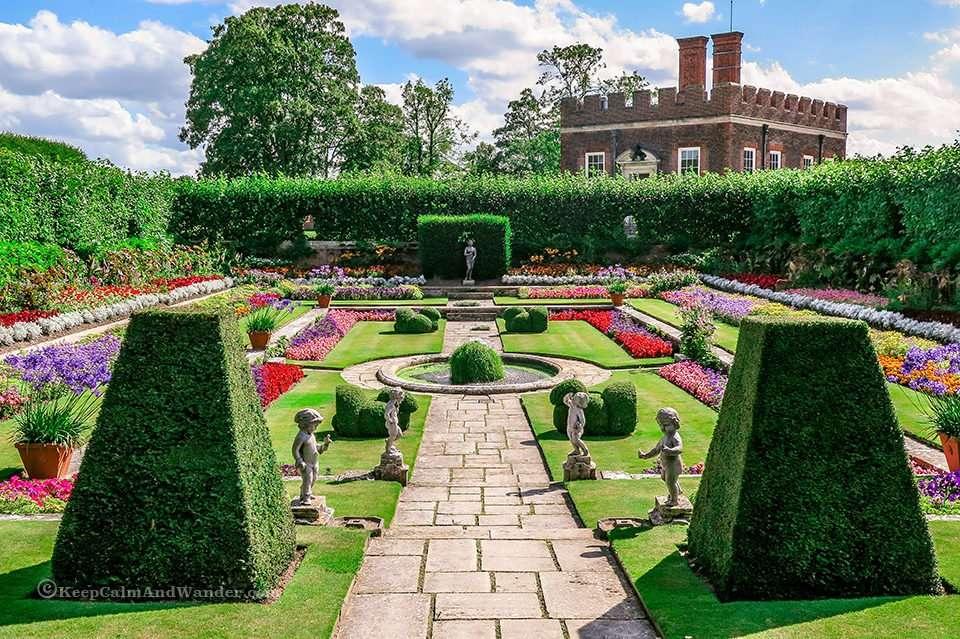 The Delightful Gardens at Hampton Court Palace (London).